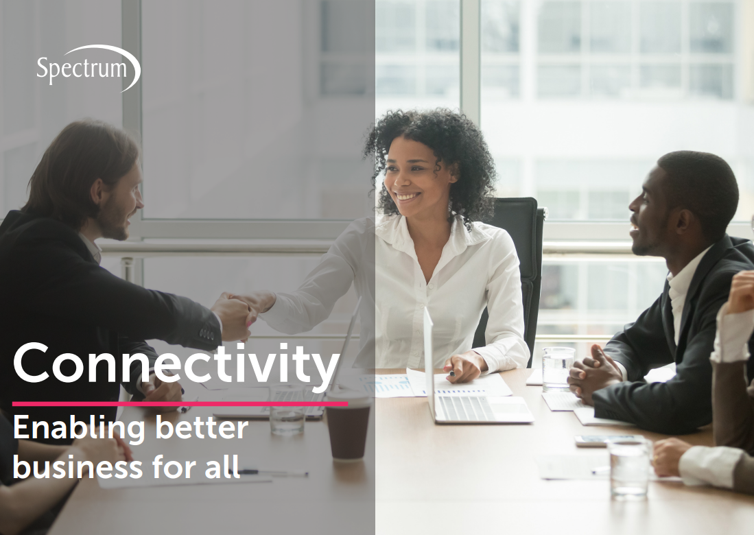Lady shaking hands across meeting table, connectivity guide cover image